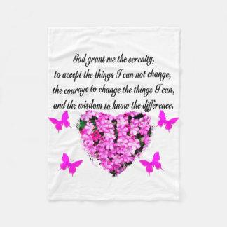 PRETTY PINK FLOWER AND BUTTERFLY SERENITY PRAYER FLEECE BLANKET