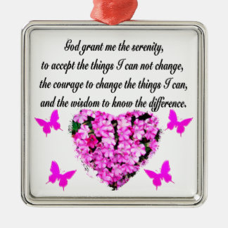 PRETTY PINK FLOWER AND BUTTERFLY SERENITY PRAYER METAL ORNAMENT