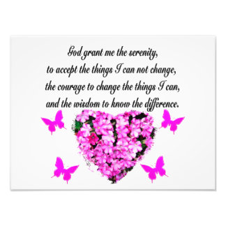 PRETTY PINK FLOWER AND BUTTERFLY SERENITY PRAYER PHOTO PRINT