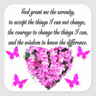 PRETTY PINK FLOWER AND BUTTERFLY SERENITY PRAYER SQUARE STICKER