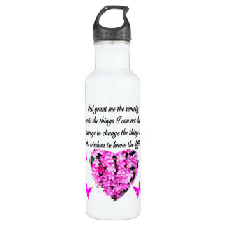 PRETTY PINK FLOWER AND BUTTERFLY SERENITY PRAYER STAINLESS STEEL WATER BOTTLE