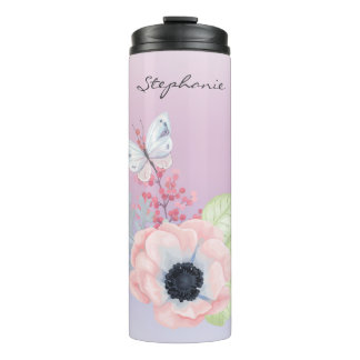 Pretty Pink Flower and Butterfly Thermal Tumbler