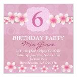 """Pretty Pink Flower Birthday Invite 5.25"""" Square Invitation Card"""