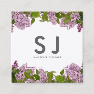 Pretty Pink Flower Botanical Landscape Designer Square Business Card