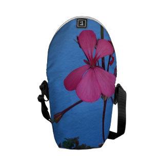 Pretty Pink Flower on Blue Mini Messenger Bag
