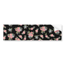 Pretty pink flower pattern on black bumper sticker