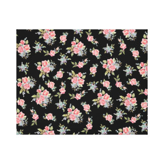 Pretty pink flower pattern on black canvas print