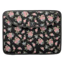 Pretty pink flower pattern on black sleeve for MacBook pro