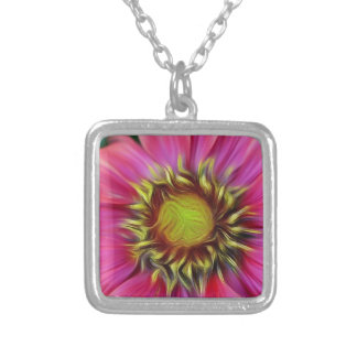 pretty pink flower silver plated necklace