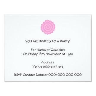 Pretty pink flower. White Background. 4.25x5.5 Paper Invitation Card