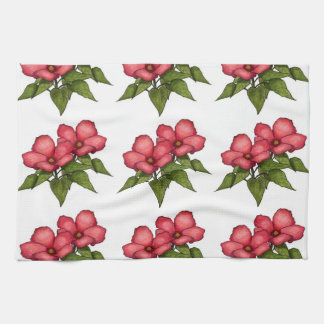 Pretty Pink Flowers: Color Pencil Art: Pattern Hand Towel