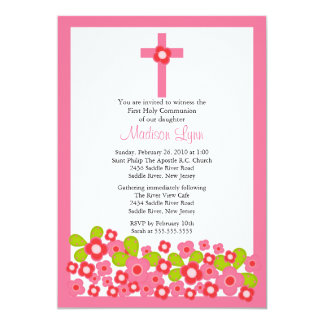 Pretty Pink Flowers & Cross First Holy Communion Invites