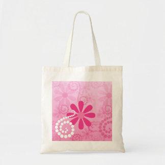 Pretty Pink Flowers Cute Retro Daisy Pattern Budget Tote Bag