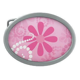 Pretty Pink Flowers Cute Retro Daisy Pattern Oval Belt Buckles
