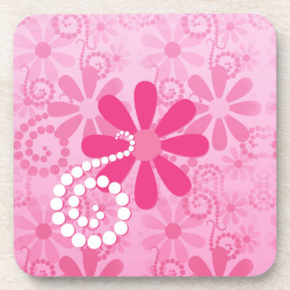 Pretty Pink Flowers Cute Retro Daisy Pattern Beverage Coaster