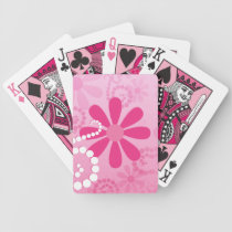 Pretty Pink Flowers Cute Retro Daisy Pattern Bicycle Playing Cards