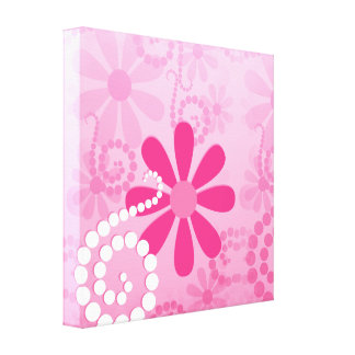Pretty Pink Flowers Cute Retro Daisy Pattern Canvas Print