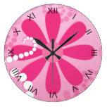 Pretty Pink Flowers Cute Retro Daisy Pattern Clocks