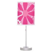 Pretty Pink Flowers Cute Retro Daisy Pattern Desk Lamp