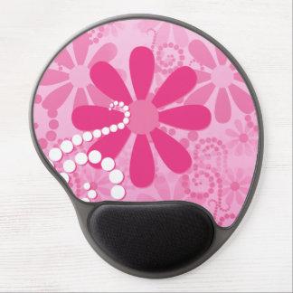 Pretty Pink Flowers Cute Retro Daisy Pattern Gel Mouse Pad