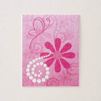 Pretty Pink Flowers Cute Retro Daisy Pattern Jigsaw Puzzle