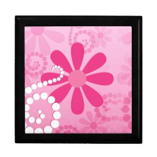 Pretty Pink Flowers Cute Retro Daisy Pattern Keepsake Box
