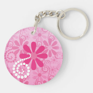 Pretty Pink Flowers Cute Retro Daisy Pattern Keychain