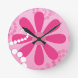 Pretty Pink Flowers Cute Retro Daisy Pattern Round Wall Clocks