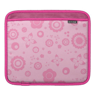 Pretty Pink Flowers Girly Retro Floral Pattern iPad Sleeve