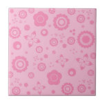 Pretty Pink Flowers Girly Retro Floral Pattern Small Square Tile