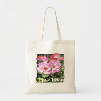 Pretty Pink Flowers on a Special Bag for Mom Budget Tote Bag