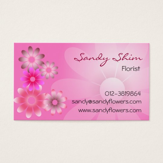 Pretty Pink Flowers On Pink Background Business Card