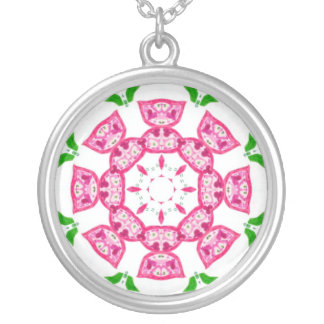 Pretty Pink Flowers Silver-plate Necklace