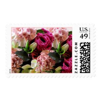 Pretty Pink Flowers Wedding Event Stamp