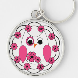 Pretty Pink Flowers & White Owl Silver-Colored Round Keychain