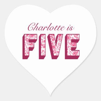 Pretty Pink Flowery Five Birthday Heart Stickers