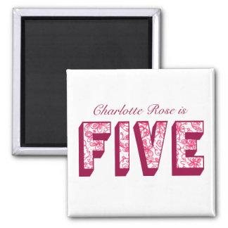 Pretty Pink Flowery Five Birthday Magnet