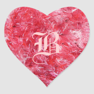 Pretty Pink Fluffy Heart with Your Initial! Heart Stickers