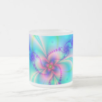 Pretty Pink Fractal Flower Frosted Glass Coffee Mug