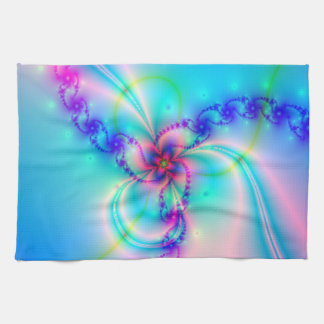 Pretty Pink Fractal Flower Kitchen Towel