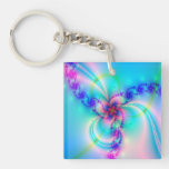 Pretty Pink Fractal Flower Single-Sided Square Acrylic Keychain