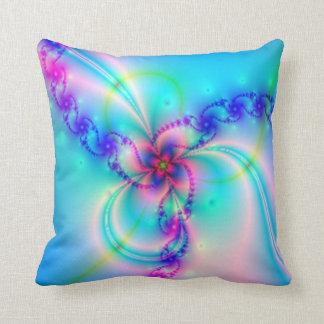Pretty Pink Fractal Flower Throw Pillow