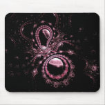 Pretty Pink Fractal Planets Mouse Pad