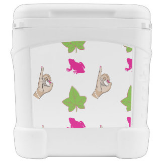 Pretty Pink Frog Igloo Rolling Cooler