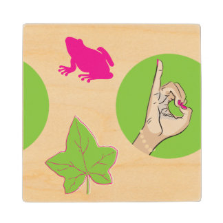 Pretty Pink Frog Wooden Coaster