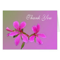 pretty pink garden flower thank you note card cards
