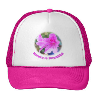 pretty pink garden flowers. nature is beautiful. trucker hat