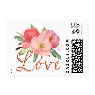 Pretty Pink Garden Flowers Watercolor Love Postage