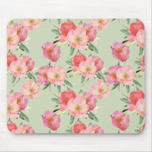 Pretty Pink Garden Flowers Watercolor Mouse Pad