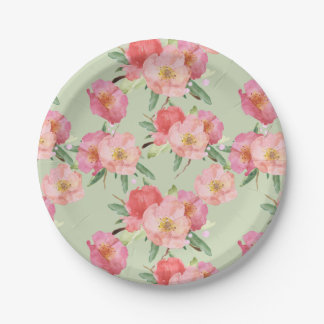 Pretty Pink Garden Flowers Watercolor Paper Plate